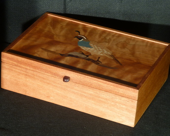 Letter box with inlaid quail