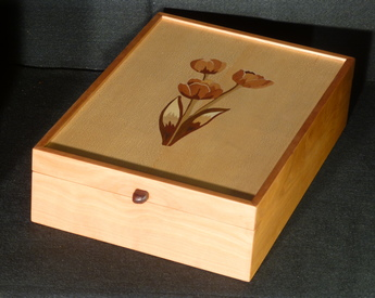 Letter box inlaid with tulips