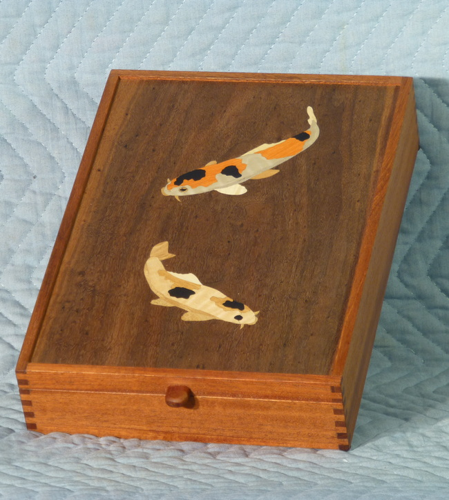 Letter box inlaid with koi
