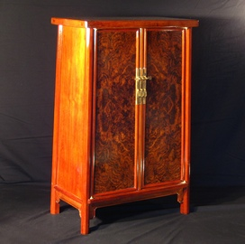 cabinet with walnut burl doors